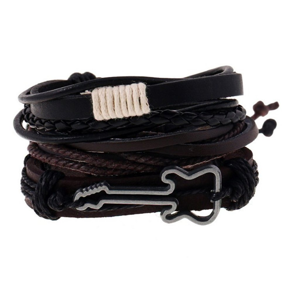 iTemer Retro Punk Style Braided Artificial Leather Alloy Adjustable Wristband Bracelet Bangle Multilayer set for Unisex