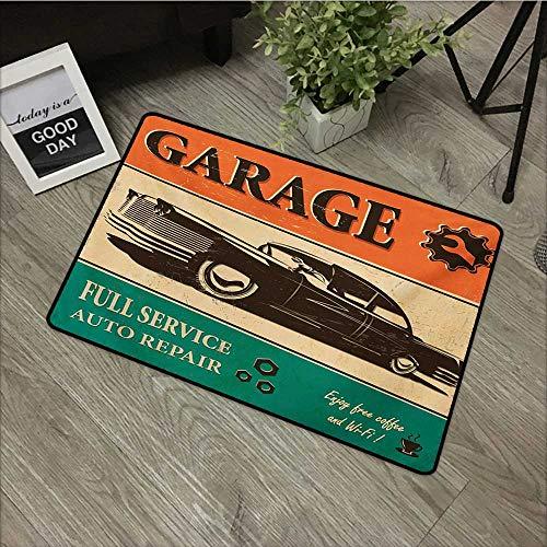 HRoomDecor Vintage,Personalized Door mats Garage Retro Poster with Classic Car Automobile Mechanic Nostalgic 50s W 31