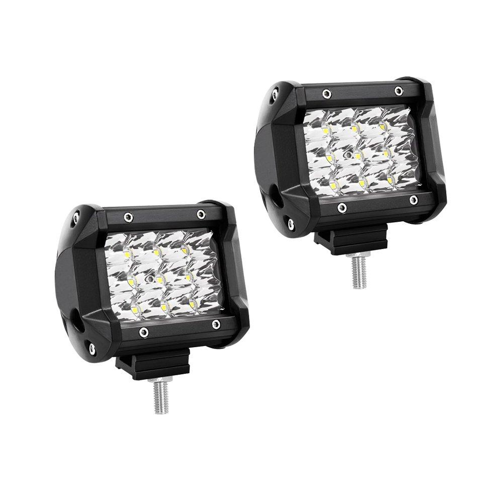 WANYI 2 x 4 Pouces 60W Lampe de Travail Led 12000LM Projecteur Phare de Travail LED Impermé able IP67 Feux Antibrouillard Poutre combo Spot et Flood(4 Pouces 60W)
