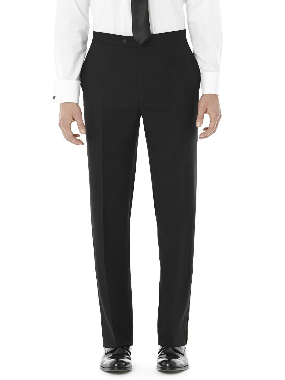 Men's Slim Fit Wool Tuxedo Pants- Dylan by Dessy Group - Black - Size 32/adj