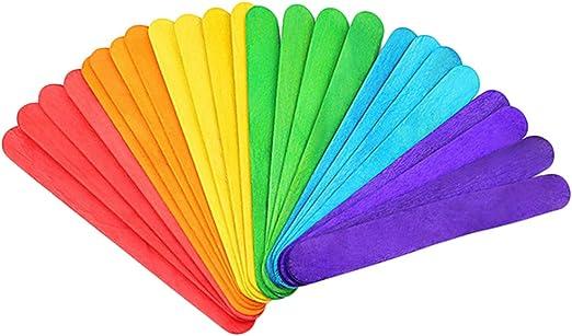 Kanggest 50Pcs Palillos de Madera Coloridos del Helado para el ...
