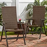 Hand Woven PE Wicker Outdoor Reclining Chairs (Set of Two) For Sale