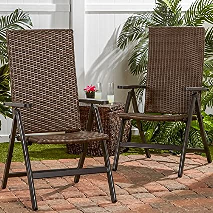 amazon com hand woven pe wicker outdoor reclining chairs set of
