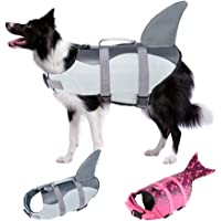 EMUST Dog Life Jacket Shark, Ripstop Dog Lifesaver Vests with Rescue Handle for Small Medium and Large Dogs, Pet Safety…
