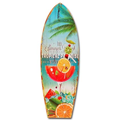 Paraíso Tropical tabla de surf de madera decoración de pared