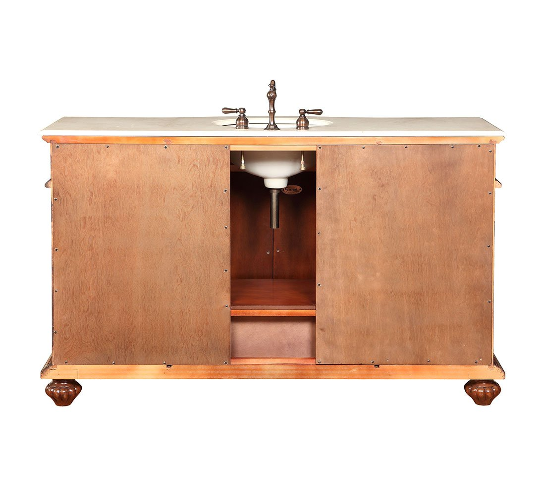 Silkroad Exclusive Creamy Marble Stone Single Sink Bathroom Vanity with Furniture Cabinet, 60-Inch by Silkroad Exclusive (Image #6)