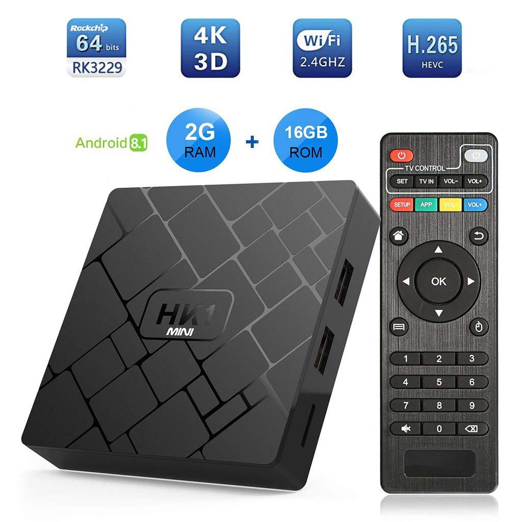 JUNESUN 1Set HK1 Mini Android 8.1 RK3229 2GB+16GB Smart TV Box Quad Core 4K WiFi Video Movie Media Player Set Top Box Device by JUNESUN (Image #4)