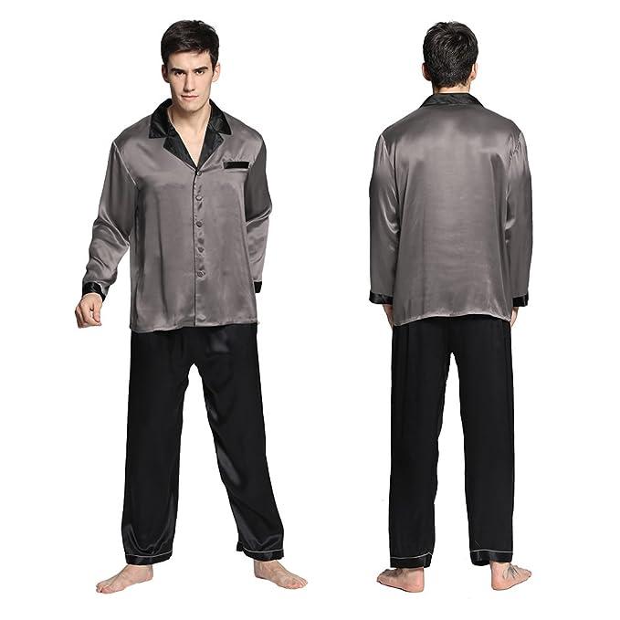 Lilysilk Conjunto De Pijamas de Seda con Ribete Contraste para Hombre 22 Momme Gris Oscuro Talla