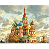 Wxswz Red Fort Moscow Russia Landscape DIY Digital Painting by Numbers Modern Wall Art Canvas Painting Unique Gift Home Decor 40X50Cm No Frame