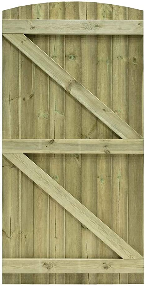 180cm x 90cm Feather Edge Semi-Braced Strong Garden Gate Driveway Fence Wood Timber 180cm Tall x 90cm Wide, with Suffolk Latch Hinge Pack
