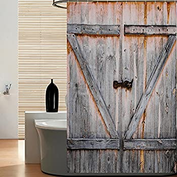 Moston Mildew Resistant Fabric Shower Curtain Old Wooden Door Decorations Bathroom Decor Curtains 100% Waterproof & Eco-Friendly,Machine Washable,70.8 x 70.8 Inch