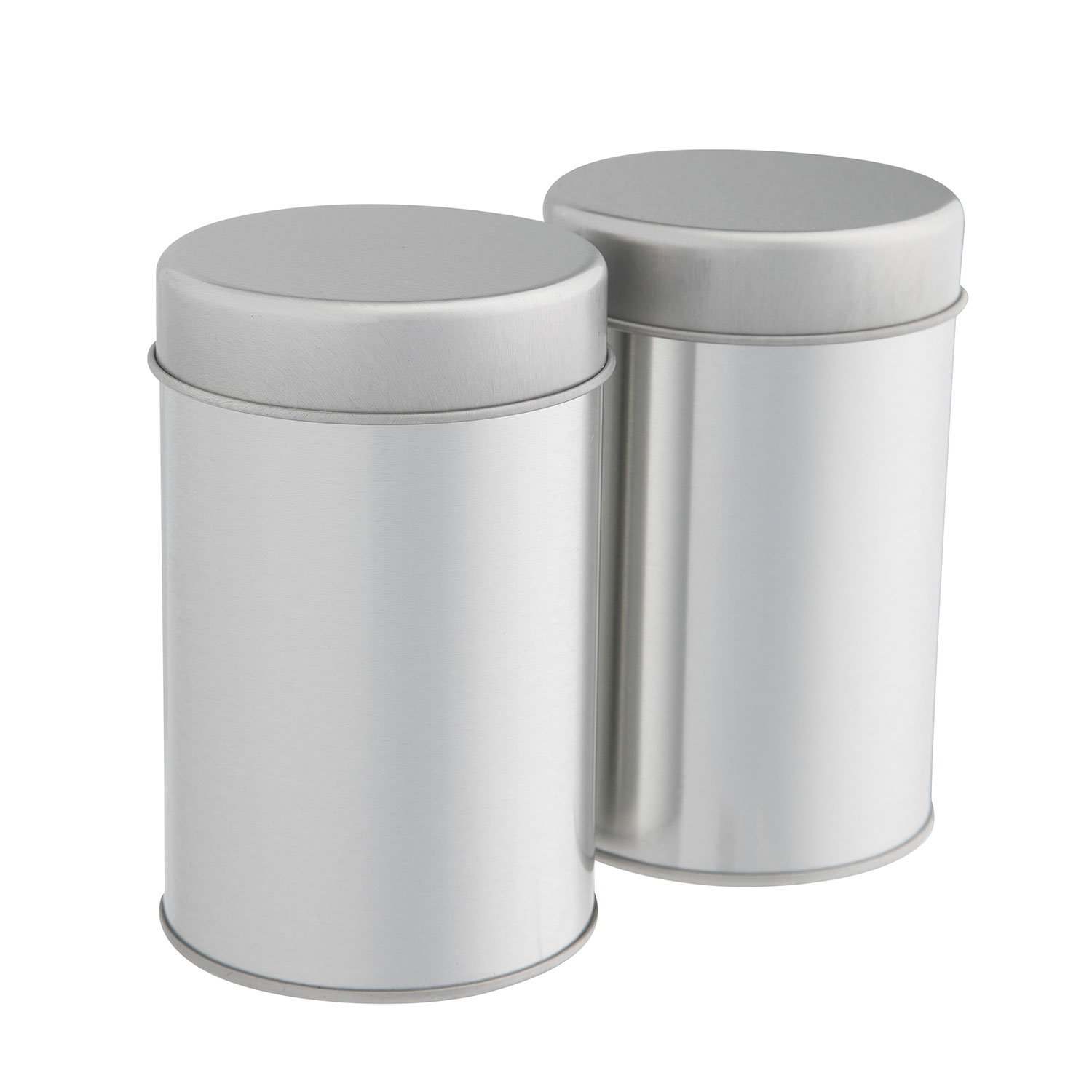 Tea Tins Canister Set with Airtight Double Lids for Loose Tea - Small Kitchen Canisters for Tea Coffee Sugar Storage, Loose Leaf Tea Tin Containers by SilverOnyx - Tea Canisters - 2 pc
