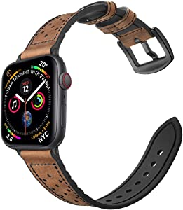 Mifa Compatible w/Apple Watch Band 40mm 38mm Series 5 4 3 Hybrid Sports Leather Vintage Dressy Bands Dark Brown Replacement Straps Sweatproof iwatch Nike Space Black Grey Men HYBD 40mm Brown