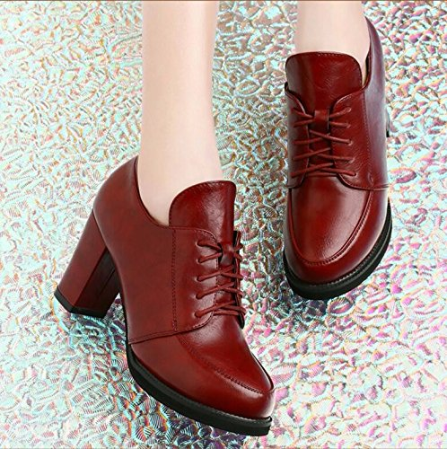 Spring gules Leather Female Spring KPHY Shoes Shoes Match All Documentary Coarse Spring Heels Shoe Shoes Shoes Fashion Korean pwwgqfBP