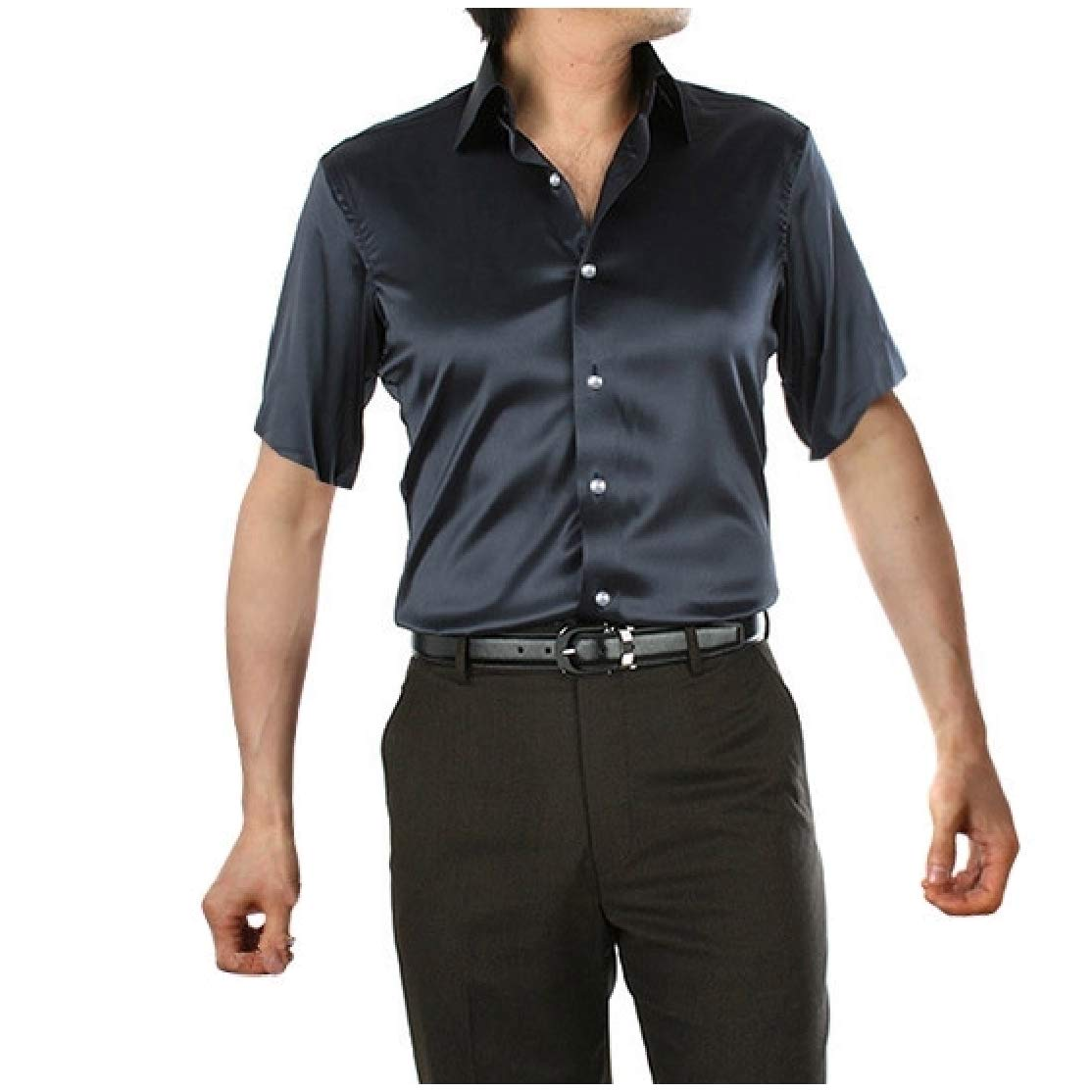 Comaba Mens Pure Color Satin Short-Sleeve Charmeuse Slip Button Down Shirt