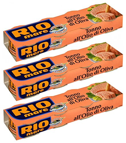 Italian Tuna - Rio Mare: Set of 12 Cans of Tuna Fish in Olive Oil, Yellowfin Tuna Quality * Pack of 12, 80g (2.82oz) Each * 960g (33.86oz) Total * [ Italian Import ]