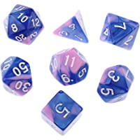 Evalue 7PCS Polyhedral Dice 16mm D20 D12 D10 D8 D6 D4 for Dungeons & Dragons Board Games Blue Pink