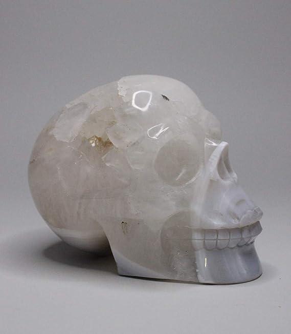 Bergkristall Totenkopf Skull Briefbeschwerer Deko Onyx Stein Naturstein Schädel