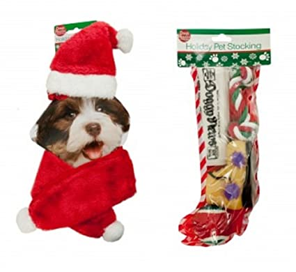 dog christmas holiday stocking pet toys gift set with santa hat red scarf