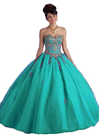 321c28a1cc7 XIA Women s Sweetheart Gold Embroidery Long Quinceanera Dresses Prom Ball  Gown with Jacket Beaded