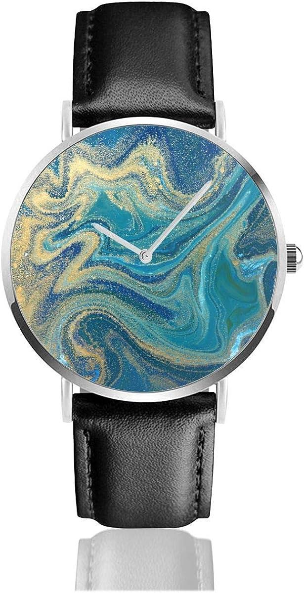 Pintura Azul Verde Oro Líquido Marmoleo Tinta Mármol Patrón Abstracto Movimiento de Cuarzo Negro Relojes de Pulsera de Acero Inoxidable