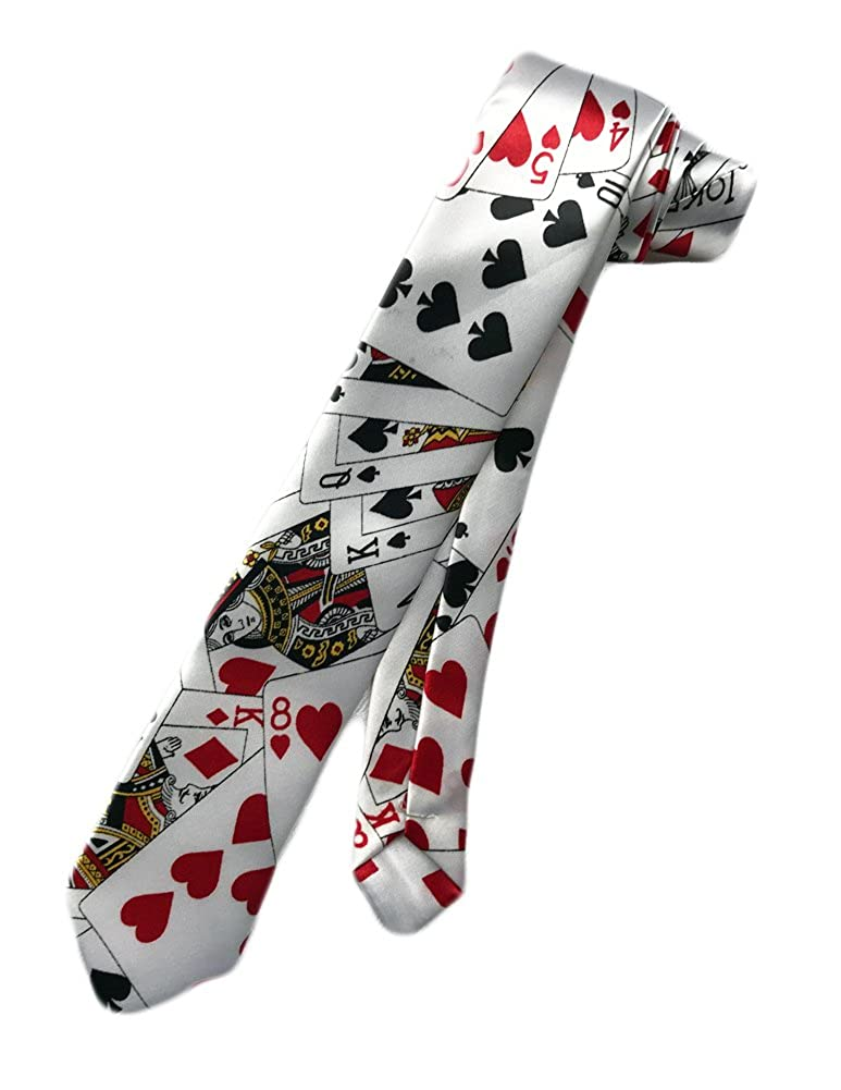 New Company Men's Poker Playing Cards Neck Tie White - One Size Skinny Neck Tie