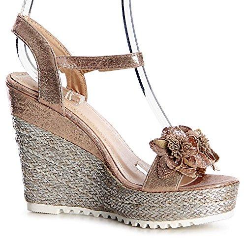 topschuhe24 - Sandalias de vestir de tela para mujer dorado