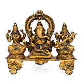 CraftVatika Gift Set of Lakshmi (Laxmi), Ganesh, Saraswati Statue - Hindu God Goddess Sculpture-Hindu Office Home Temple Worship Idol