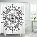 VaryHome Shower Curtain Arabian Mandala for Your Lace Round with Lots of Details Oriental Style Floral Black White Circle Bedding Waterproof Polyester Fabric 78 x 72 Inches Set with Hooks