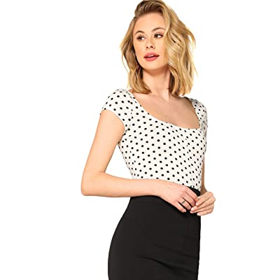 ROMWE Women's Short Cap Sleeve Scoop Neck Polka Dot Summer Slim Fit Crop Tee Top at Women's Clothing store