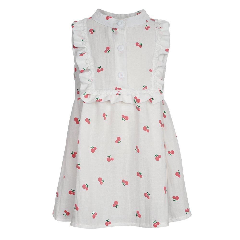 Baby Girls Dress Sundress Sleeveless Organic Pineapple Cat Cherry Prints (9-12m, White)