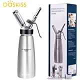 Whipped Cream Dispenser Stainless Steel, Profesional Cream Whipper, 3 Tip Attachment Nozzles, Fresh Cream for Baking and Beverages (500ml)