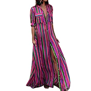 2f219679f992d Snowfoller Women Rainbow Striped Button Down Long Dress Turn-Down Collar  Shirt Dress Boho Chest
