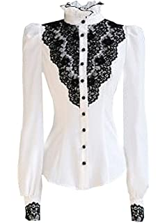 a6e5997b5a792 Choies Women s Vintage White with Black Lace Stand-Up Collar Puff Long  Sleeve Shirt