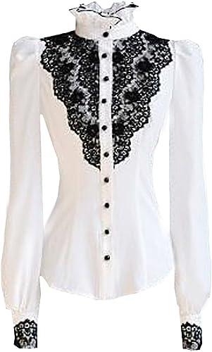 Choies mujer blusa ajustada cuello tirilla adornada de encaje negro manga con puño en contraste camisa shirt blanco S: Amazon.es: Ropa y accesorios
