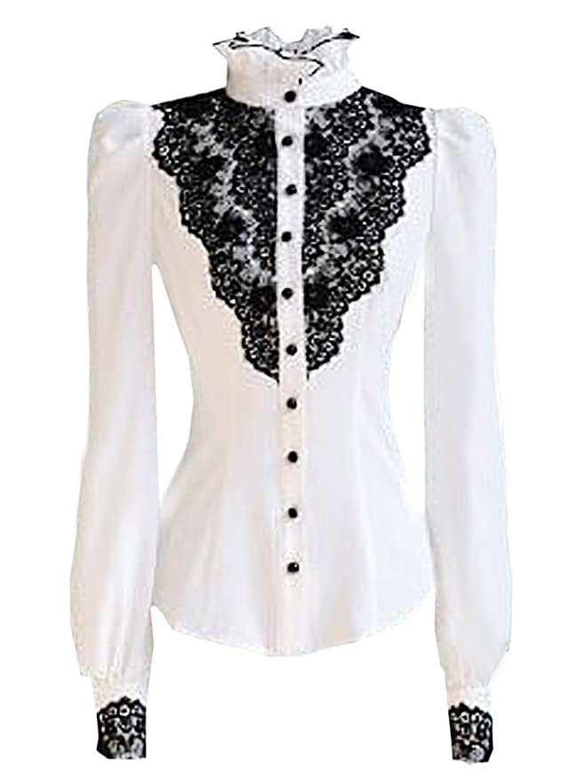 Victorian Inspired Womens Clothing Vintage White With Black Lace Stand-Up Collar Puff Long Sleeve Shirt $17.99 AT vintagedancer.com