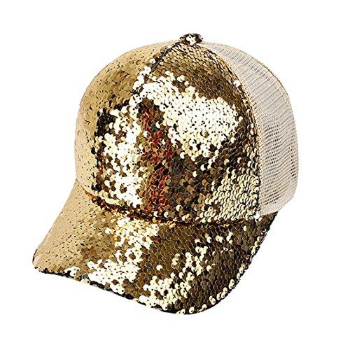 giallo sole con baseball Visiera cappuccio Cappello con da gialla paillettes Acvip da donna APInqFY