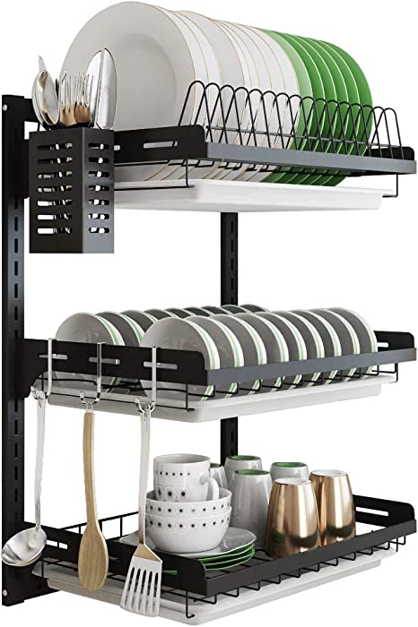 Hanging Dish Drying Rack Wall Mount Dish Drainer 3 Tier Junyuan Kitchen Plate Bowl Spice Organizer Storage Shelf Holder With Drain Tray With 3 Hooks Stainless Steel Black Coating 3 Tier