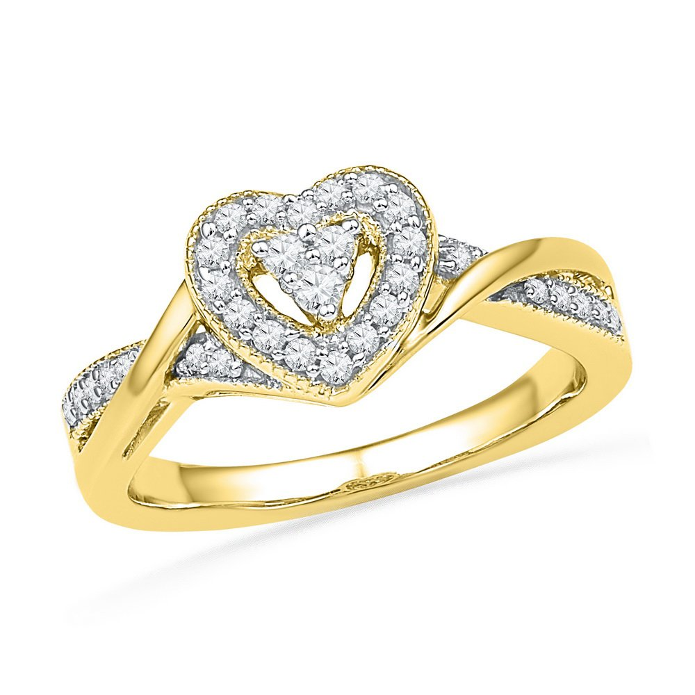 10kt Yellow Gold Womens Round Diamond Heart Love Ring 1/4 Cttw (I2-I3 clarity; I-J color)