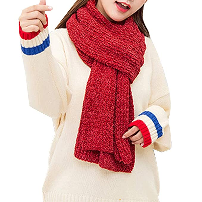 Women S Chenille Chunky Knitted Scarves Solid Thick Winter Warm Soft