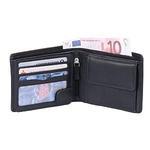 Portefeuille OTARIO, cuir véritable, noir 12,5x10,5cm