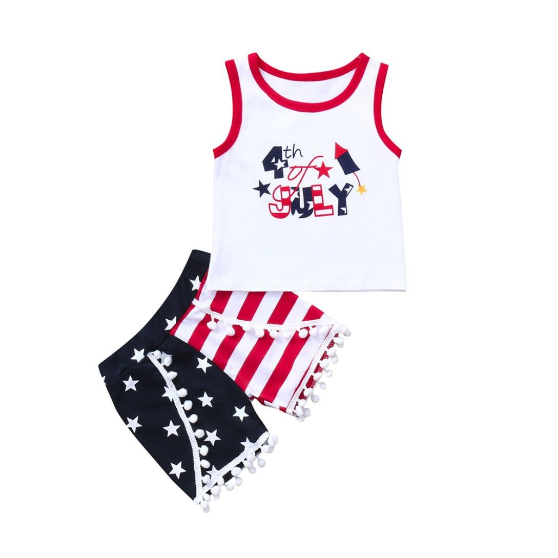 Moonker Toddler Baby Girls Boys Kids 4th of July Outfit Set Stars Striped Tank Tops Vest Shorts Pants Clothes 1-5 T