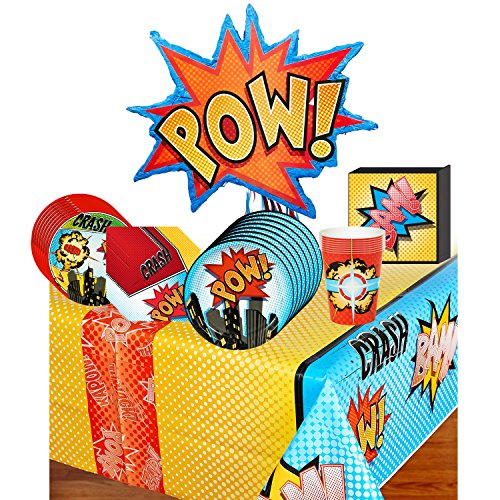 Deluxe Super Comics Superhero Pack Party (Superhero Comics Deluxe Party Supplies Pack Including Plates, Cups, Napkins, Tablecover and Pinata - 8)