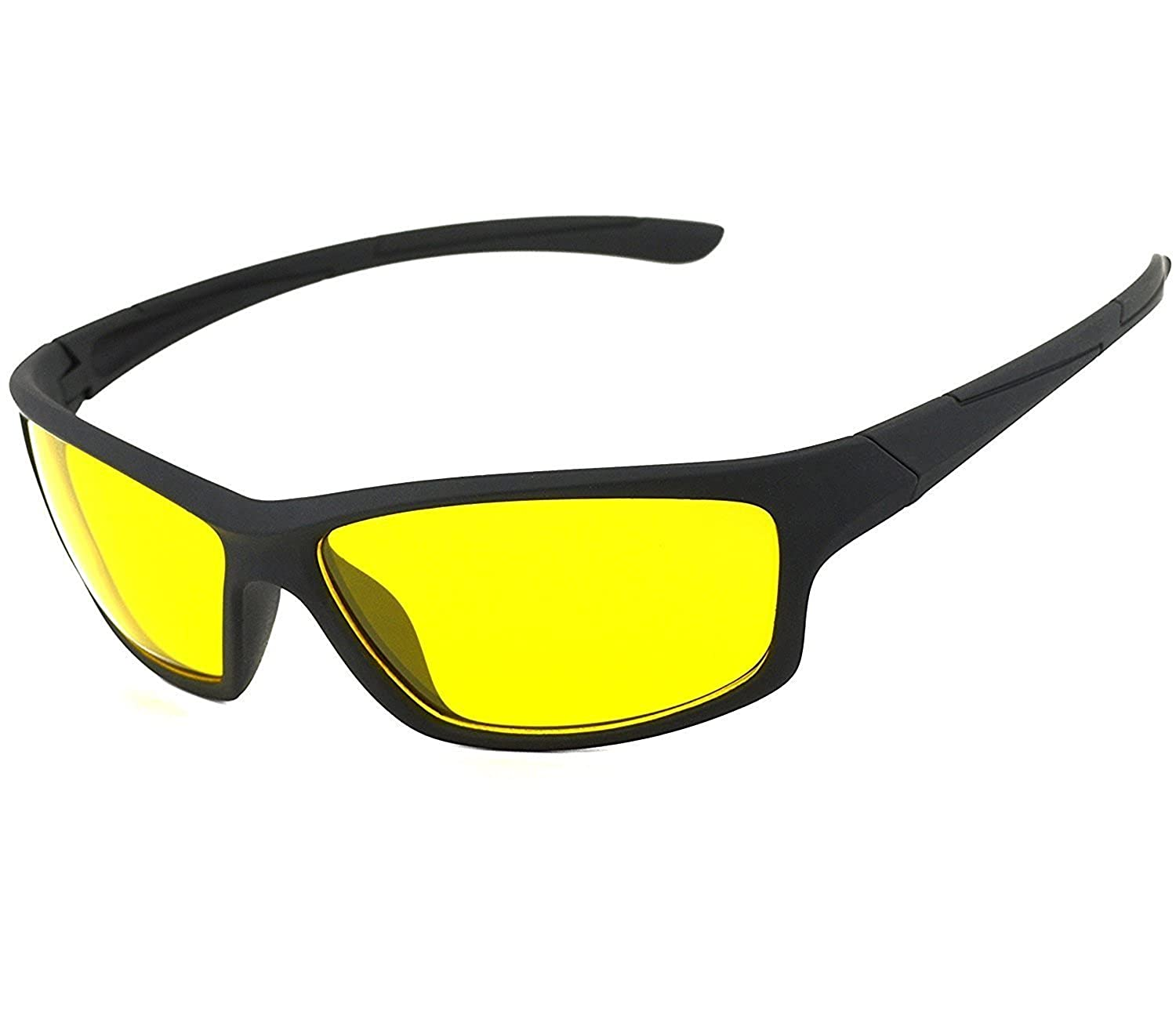 FashioNext Unisex UV Protected HD Night Vision Anti-Glare Driving Glasses, 57 (Yellow, FNextFNND606)