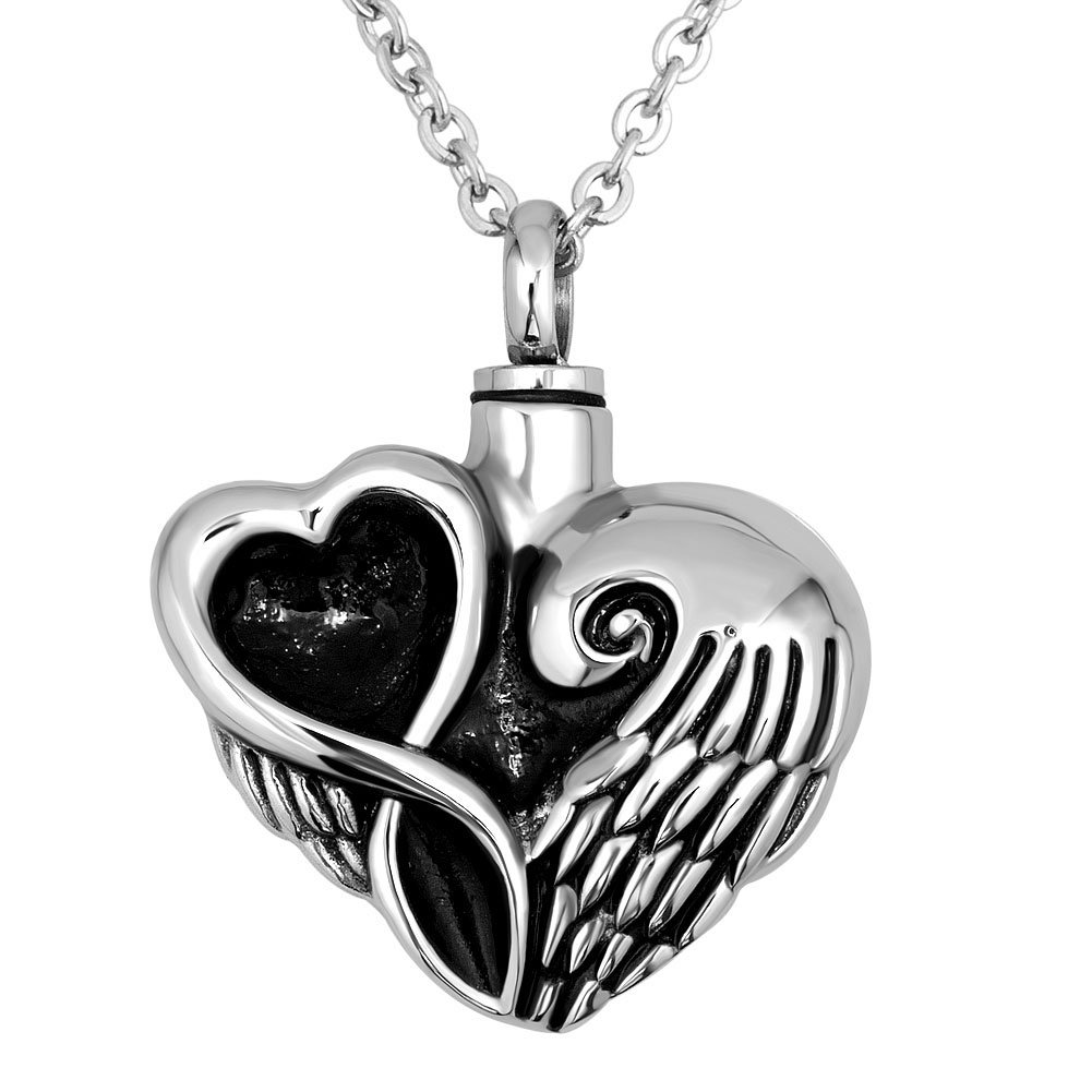 JewelryJo Urn Necklace for Ashes Cremation Keepsake Memorial with Angel Wings Love Heart Pendant Stainless Steel