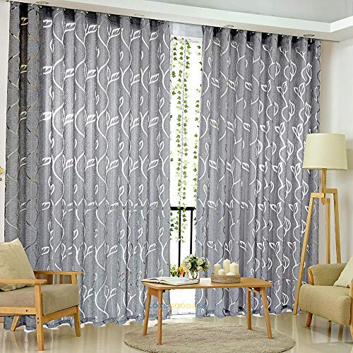 "Price comparison product image Window Curtain Rod Pocket Top Sheer Curtain Panels Tulle Window Treatment Floral Voile Drape Valances for Window,  Bedroom & Living Room - 78.7X39.4"" 1 Panel (Grey)"