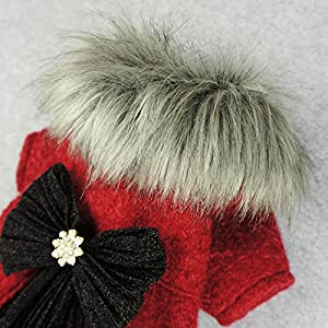 Fitwarm Faux Furred Pet Clothes for Dog Winter Coats Cat Jackets Red Large
