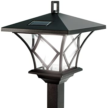 ideaworks solar powered led yard lamp with 5 foot pole for outdoor lighting
