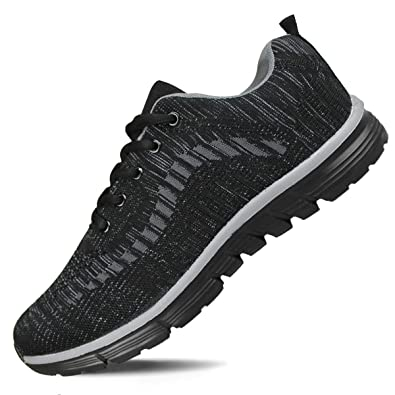 5a2a224bb1a9 Hawkwell Men s Knit Running Shoes Lightweight Breathable Athletic Tennis  Walking Gym Shoes