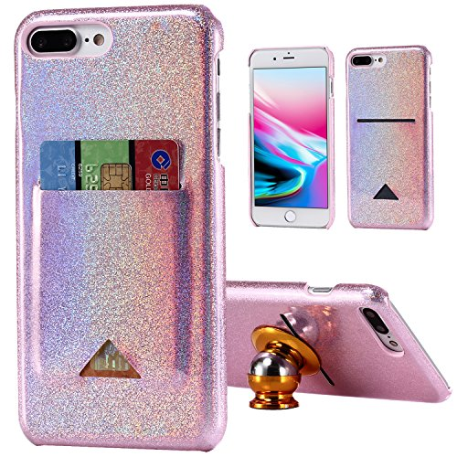 iPhone 7 Plus Case, iPhone 8 Plus Case, Crosspace iPhone 7 Plus Wallet Case iPhone 8 Plus Wallet Case Glitter Bling Cover for Girls Women with Card Slot for Apple iPhone 8 Plus or iPhone 7 Plus - Pink